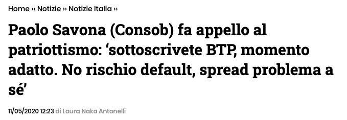Titolo di giornale: Paolo Savona invita a investire in BTP Italia