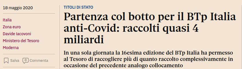 Titolo di giornale: boom di sottoscrizioni per i BTP Italia