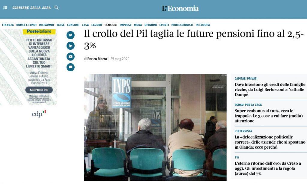 Perché integrare la pensione: articolo del Corriere della Sera
