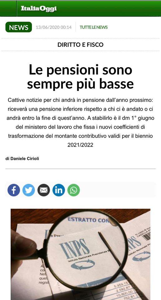 Perché integrare la pensione: articolo di ItaliaOggi