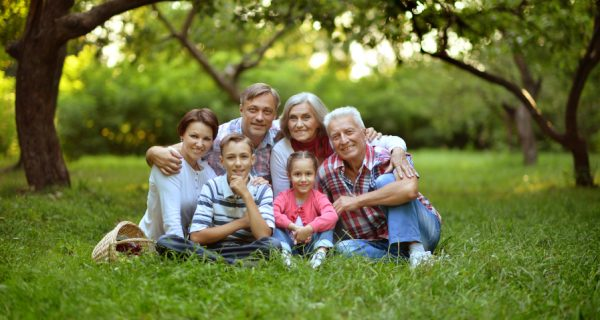 Portrait,Of,A,Happy,Smiling,Family,Relaxing,In,Park
