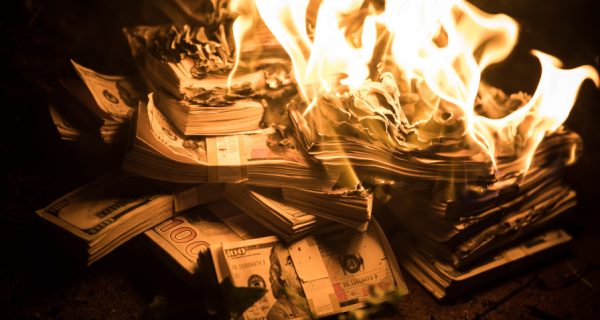 Pile,Of,Money,On,Fire